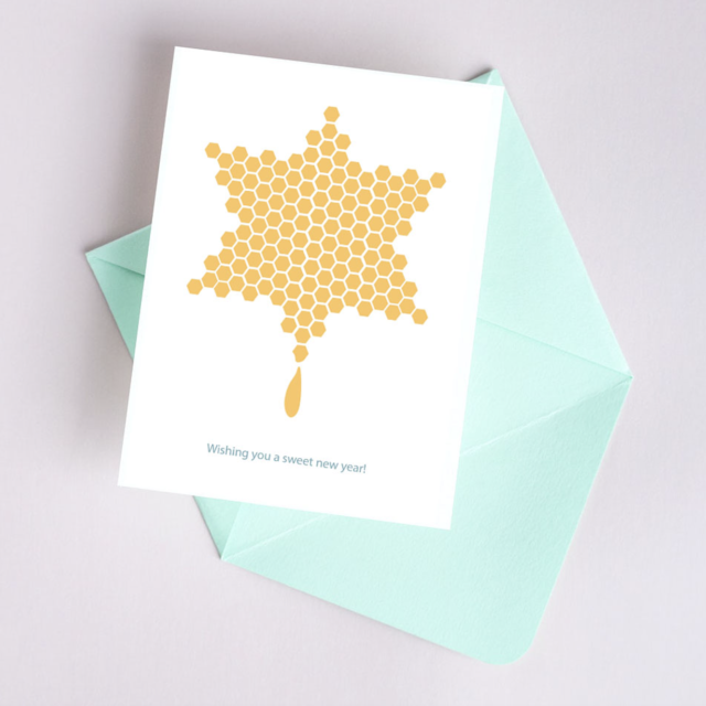 Shana Tova Greeting card honey magen david